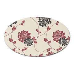 Flower Floral Black Pink Oval Magnet by Mariart