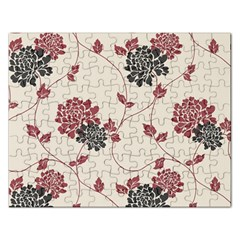 Flower Floral Black Pink Rectangular Jigsaw Puzzl by Mariart