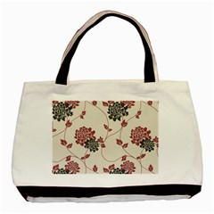 Flower Floral Black Pink Basic Tote Bag (Two Sides) by Mariart