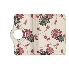 Flower Floral Black Pink Kindle Fire Hd (2013) Flip 360 Case by Mariart