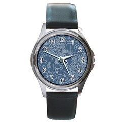 Flower Floral Blue Rose Star Round Metal Watch by Mariart