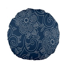 Flower Floral Blue Rose Star Standard 15  Premium Round Cushions by Mariart