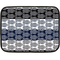 Digital Print Scrapbook Flower Leaf Colorgray Black Purple Blue Fleece Blanket (mini) by Mariart