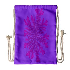 Dendron Diffusion Aggregation Flower Floral Leaf Red Purple Drawstring Bag (large) by Mariart