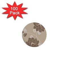 Flower Floral Grey Rose Leaf 1  Mini Buttons (100 Pack)  by Mariart