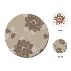 Flower Floral Grey Rose Leaf Playing Cards (round)  by Mariart