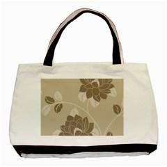 Flower Floral Grey Rose Leaf Basic Tote Bag by Mariart