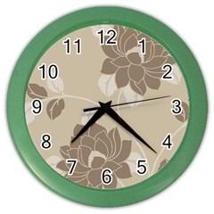 Flower Floral Grey Rose Leaf Color Wall Clocks by Mariart