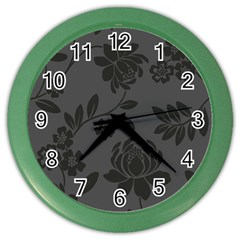 Flower Floral Rose Black Color Wall Clocks by Mariart