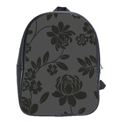 Flower Floral Rose Black School Bags (xl)  by Mariart