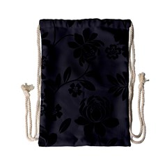 Flower Floral Rose Black Drawstring Bag (small) by Mariart