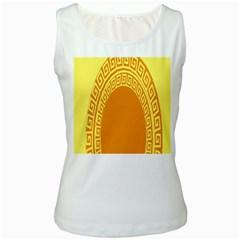 Greek Ornament Shapes Large Yellow Orange Women s White Tank Top by Mariart