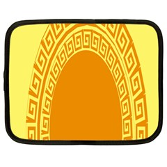 Greek Ornament Shapes Large Yellow Orange Netbook Case (xl)  by Mariart
