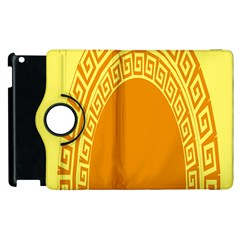 Greek Ornament Shapes Large Yellow Orange Apple Ipad 3/4 Flip 360 Case by Mariart