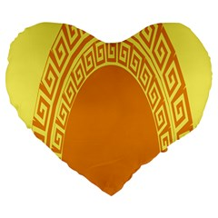 Greek Ornament Shapes Large Yellow Orange Large 19  Premium Heart Shape Cushions by Mariart