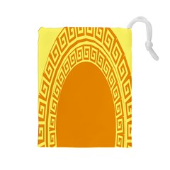Greek Ornament Shapes Large Yellow Orange Drawstring Pouches (large)  by Mariart