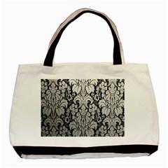 Flower Floral Grey Black Leaf Basic Tote Bag by Mariart