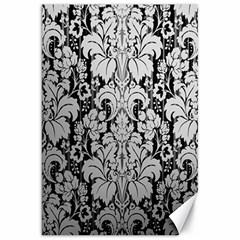 Flower Floral Grey Black Leaf Canvas 20  X 30   by Mariart