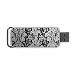 Flower Floral Grey Black Leaf Portable Usb Flash (two Sides) by Mariart
