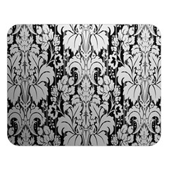 Flower Floral Grey Black Leaf Double Sided Flano Blanket (Large)  by Mariart