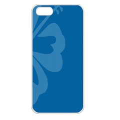 Hibiscus Sakura Classic Blue Apple Iphone 5 Seamless Case (white) by Mariart