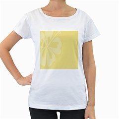 Hibiscus Custard Yellow Women s Loose-Fit T-Shirt (White) by Mariart