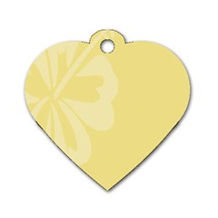 Hibiscus Custard Yellow Dog Tag Heart (two Sides) by Mariart