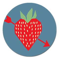 Fruit Red Strawberry Magnet 5  (round) by Mariart