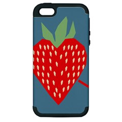 Fruit Red Strawberry Apple Iphone 5 Hardshell Case (pc+silicone) by Mariart