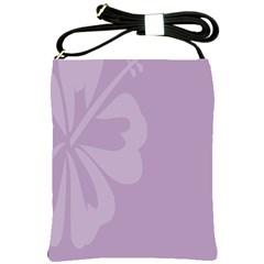 Hibiscus Sakura Lavender Herb Purple Shoulder Sling Bags by Mariart
