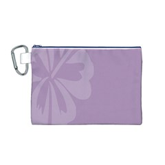 Hibiscus Sakura Lavender Herb Purple Canvas Cosmetic Bag (m) by Mariart