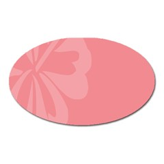 Hibiscus Sakura Strawberry Ice Pink Oval Magnet by Mariart