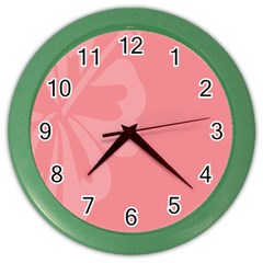Hibiscus Sakura Strawberry Ice Pink Color Wall Clocks by Mariart