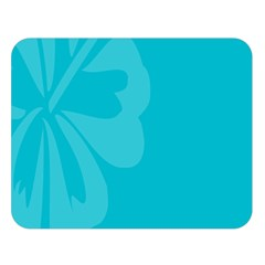 Hibiscus Sakura Scuba Blue Double Sided Flano Blanket (large)  by Mariart