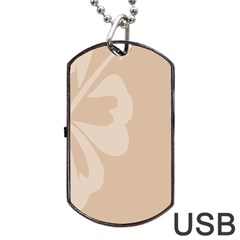 Hibiscus Sakura Toasted Almond Grey Dog Tag Usb Flash (two Sides) by Mariart