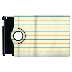 Horizontal Line Yellow Blue Orange Apple Ipad 3/4 Flip 360 Case by Mariart
