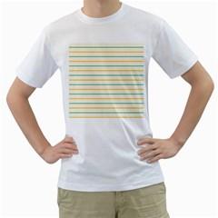 Horizontal Line Yellow Blue Orange Men s T-Shirt (White)