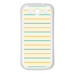 Horizontal Line Yellow Blue Orange Samsung Galaxy S3 Back Case (white) by Mariart
