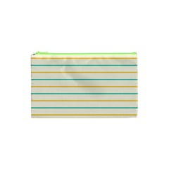 Horizontal Line Yellow Blue Orange Cosmetic Bag (xs) by Mariart