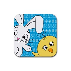 Easter Bunny And Chick  Rubber Square Coaster (4 Pack)  by Valentinaart