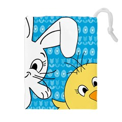Easter Bunny And Chick  Drawstring Pouches (extra Large) by Valentinaart