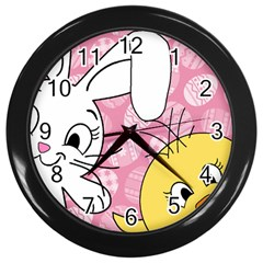 Easter Bunny And Chick  Wall Clocks (black) by Valentinaart