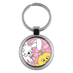 Easter Bunny And Chick  Key Chains (round)  by Valentinaart