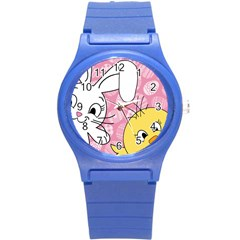 Easter Bunny And Chick  Round Plastic Sport Watch (s) by Valentinaart
