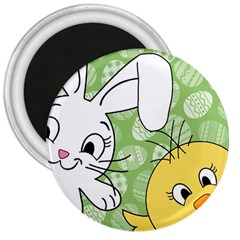 Easter Bunny And Chick  3  Magnets by Valentinaart