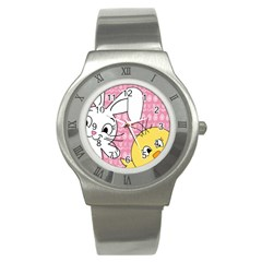 Easter Bunny And Chick  Stainless Steel Watch by Valentinaart
