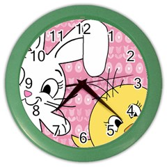 Easter Bunny And Chick  Color Wall Clocks by Valentinaart