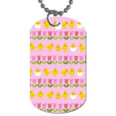 Easter   Chick And Tulips Dog Tag (one Side) by Valentinaart