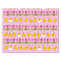 Easter   Chick And Tulips Rectangular Jigsaw Puzzl by Valentinaart