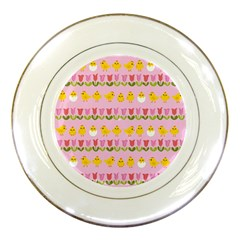 Easter   Chick And Tulips Porcelain Plates by Valentinaart